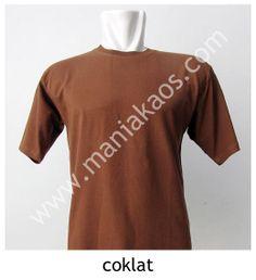 Kaos O-neck Lengan Pendek Coklat.