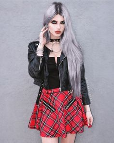 Come back with the Highlife Pinafore tartan skirt on Dayana Crunk. Must have for your summer grunge outfit.