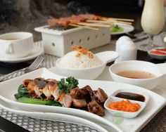 #staycation #lunch at @TheKanaKuta #Food: Roasted Peking Duck #Delicious: 4/5 #Foodcious: roasted peking duck green vegetables ground bean sauce steamed rice Rp 95K