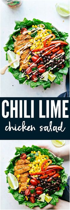 Chili Lime Chicken Salad is made with crisp romaine lettuce, bell pepper, corn, black beans, cherry tomatoes and drizzled in an unbelievable chili lime ranch dressing. This salad is unforgettable!