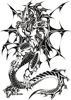 Commish: Sea Dragon Tribal by Liger-Inuzuka - Tattoos Tribal Dragon Tattoos, Dragon Tattoo Designs, Tribal Tattoo Designs, Tribal Drawings, Tribal Art, Tattoo Drawings, Celtic Dragon, Sea Dragon, Dragon Head