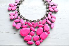 Pink Ombre Hand Painted Rhinestone Necklace