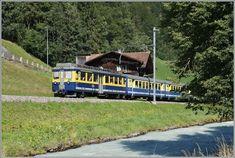 A BOB local train between Lauterbrunnen and Zweilütinen. Swiss Railways, Train Tracks, Switzerland, Skiing, Adventure, Places, Pictures, Trains, World