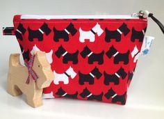 Black and White Scottie Dog Robert Kauffman Fabric Cosmetic Purse - Hand Made in Scotland