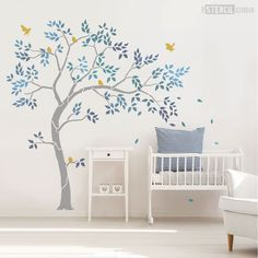 Nursery Tree Stencil Pack - Reusable Stencil - Paint Nursery Walls - Home Decor - Create Your own Wall Mural - just add Paint. Includes Large Tree, Leaves and Birds. Tree Stencil For Wall, Bird Stencil, Wall Stencil Patterns, Wall Stickers Tree, Bedroom Wall Stickers, Flower Stencils, Damask Stencil, Large Stencils, Craft Stencils