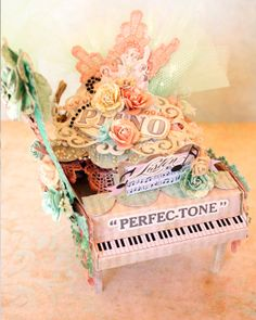 3D paper piano with mini inside featuring One Moment in Time line by The Scrapcake