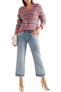 Marc Jacobs Cropped Bead-embellished Boyfriend Jeans In Light Denim Cropped Jeans, Denim Jeans, Danse Lente, Light Denim, Boyfriend Jeans, World Of Fashion, Marc Jacobs, Bead, Runway