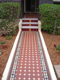 Now that is an entrance! Edwardian Tiles - Path, Steps and Front Porch