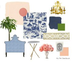 Chinoiserie - Design Board - blue and white toile, with pink paint, chinoiserie fauxbamboo, and pagoda light fixture, by Alexandra Rae Palm Beach Decor, Girls Room Design, Blue And White Fabric, Chinoiserie Chic, China, Girl Room, Decoration, Room Decor, Bedroom Inspiration