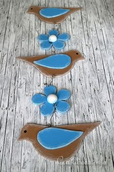 Wooden Hanging Decoration with Birds and Flowers Craft