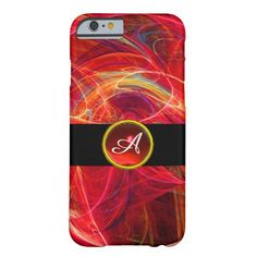 CRAZY PHOTON RED RUBY GEM STONE MONOGRAM BARELY THERE iPhone 6 CASE