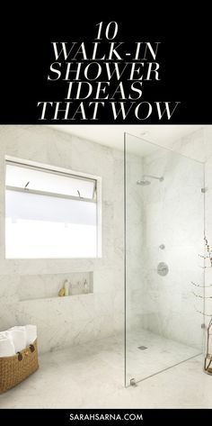 10 Gorgeous Walk-In Shower Ideas, guaranteed to inspire your next bathroom remodel or renovation, via Sarah Sarna - A Fashion, Interior. Master Shower, Walk In Shower, Shower Doors, Shower Window, Big Shower, Shower Walls, Glass Shower, Shower Curtains, Next Bathroom