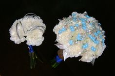 White & Blue Carnation Bouquets