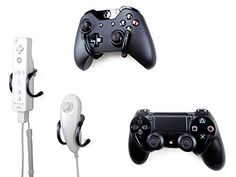 Wall Clip - Xbox, PlayStation, Wii, and Retro Game Controller Organizer - 4 Pack, Black