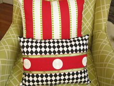 Christmas Red Outdoor Pillow Cover Black by wreathsplusbylyn