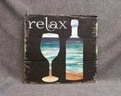 Plataforma playa pared decoración arte, arte vino, Relax, reciclado botellas vino madera, apenados, hecho a mano, pintado a mano, regalo