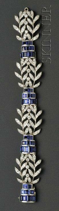 Platinum, Sapphire, and Diamond Bracelet, Seaman Schepps
