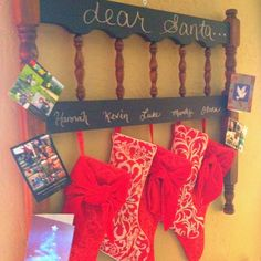"Our stockings were hung on the ""repurposed headboard"" with care!"