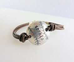 Softball Girl Personalized Hand Stamped Bracelet