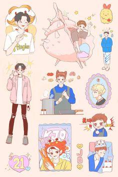 Exo Stickers, Cute Stickers, Kpop Drawings, Cute Drawings, Kpop Anime, Exo Fan Art, Cute Cartoon, Exo Cartoon, Wallpaper Iphone Disney