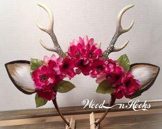 Deer Antler Headband Flower Crown boho cosplay woodland creature horns