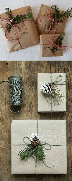 Gift packaging close to nature. Craft paper, twigs and pine cones is all it takes!