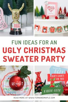 Decor, place setting, photobooth ideas and more for a fun Ugly Christmas Sweater holiday party. Get all of the details now at fernandmaple.com!
