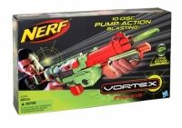 Nerf Vortex Praxis Soft Dart Gun Pump-action power and a removable 10-disc clip let you go the distance with the Vortex Praxis blaster! Whether you need maximum mobility or enhanced fire control, you can modify your blaster with the removable shoulder stock and add accessories with the Tactical Rail System.