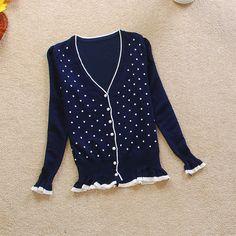 $11.99 Sweet Polka Dot Casual Cardigan Sweater at Online Apparel Store Gofavor