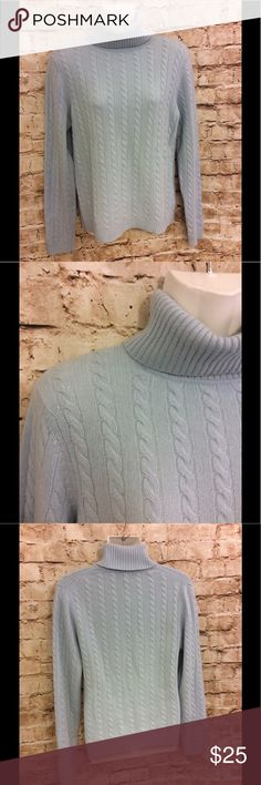 Ann Taylor 100% cashmere blue turtleneck sweater S Very gently used Ann Taylor 100% cashmere baby blue cable knit sweater Turtleneck Boxy So small Length from top to bottom 23 1/2 in.³ Armpit armpit 18 inches Arm length 24 inches Ann Taylor Sweaters Cowl & Turtlenecks