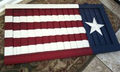 Primitive flag with tin star on shutter