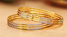 Plain Gold Bangles, Gold Bangles For Women, Ruby Bangles, Gold Bangles Design, Gold Earrings Designs, Gold Jewellery Design, 18k Gold Jewelry, Jewlery, Gold Mangalsutra Designs
