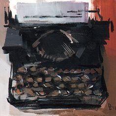 Art Print Retro Typewriter 5x5 on 8x10 - Manual Typewriter by David Lloyd