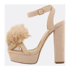 Open Toe Pom Pom Chunky Heels NUDE (975 MXN) ❤ liked on Polyvore featuring shoes, pumps, nude, nude shoes, ankle strap pumps, ankle strap platform pumps, nude high heel shoes and nude pumps