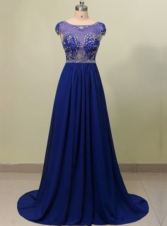 Classic Evening Dresses,Long Homecoming Dresses,Royal Blue Prom Dresses,A-line Scoop Sweep Train Prom/Evening Dress with Beading