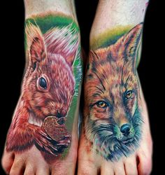 Tattoo by Cecil Porter, squirrel and fox