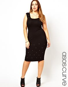 Image 1 ofASOS CURVE Midi Dress With Eyelet Detail: I am usually not fond of grommets.  This, however, works.