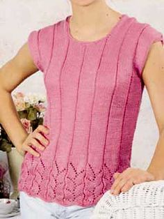 Tops, Tanks, Tees Knitting Patterns free knitting pattern for sleeveless summer top with a lace edge. Knitting Designs, Knitting Patterns Free, Free Knitting, Free Pattern, Crochet Summer Tops, Summer Knitting, Reverse Single Crochet, Stylish Dress Designs, Vintage Knitting