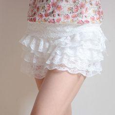 Cute Lingerie, Vintage Lingerie, Women Lingerie, Ruffle Bloomers, Lace Ruffle, Ruffles, Nylons, White Mini Skirts, Curvy Petite Fashion