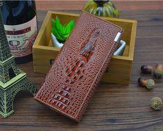 A4028 FFANY Long Alligator Embossed Genuine Leather Bi-fold Clutch Wallet