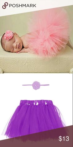 Purple Newborn Tutu Set - NB Photography Prop Brand New Purple Newborn Tutu with Matching Headband Newborn Photography Prop Handmade #Poshmini Handmade Matching Sets