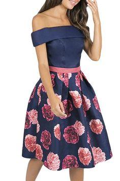 Navy Blue Short Sleeve Off Shoulder Flared Floral Dress Dresses For Sale, Dresses Online, Bodice, Neckline, Cheap Cocktail Dresses, Dresses To Wear To A Wedding, Floral Print Skirt, Navy Blue Shorts, Skater Dresses