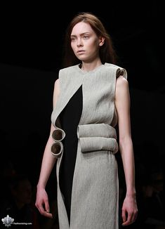 Sculptural Fashion with 3D curled fabric construction, like rolled up paper tubes; experimental fashion design // Viktor Smedinge