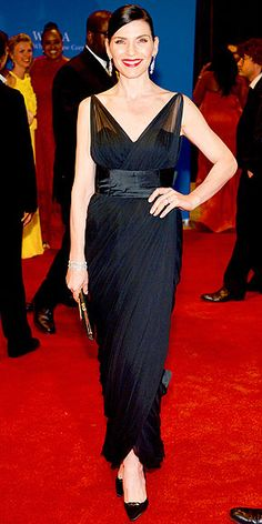 JULIANNA MARGULIES She plays the wife of a politician on TV so it's no surprise that the star plays it safe in a simple black gown.