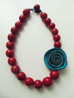 Crafted, eco-friendly turquoise rose and red bombona beaded necklace