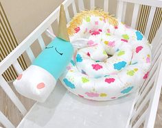 Baby crib bumper CLOUDS UNICORN Pillow Handmade, Baby Bed Bumper, Baby Shower Present