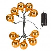 Battery Operated Christmas Lights Stellar Baubles Gold