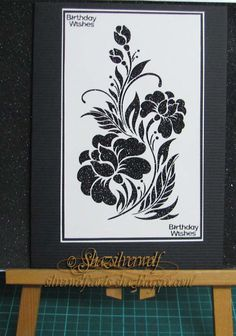 Silverwolf Cards-Sweet Poppy stencil' Black Orchid'. with black glitter