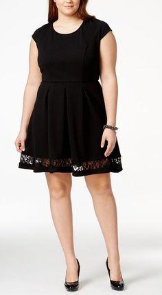 Plus Size Short-Sleeve Skater Dress
