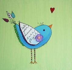 Original Bird Painting NURSERY ART Collage Flower BABY by melbean, $18.00